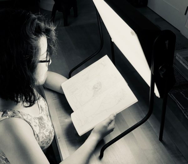 theresa with light box
